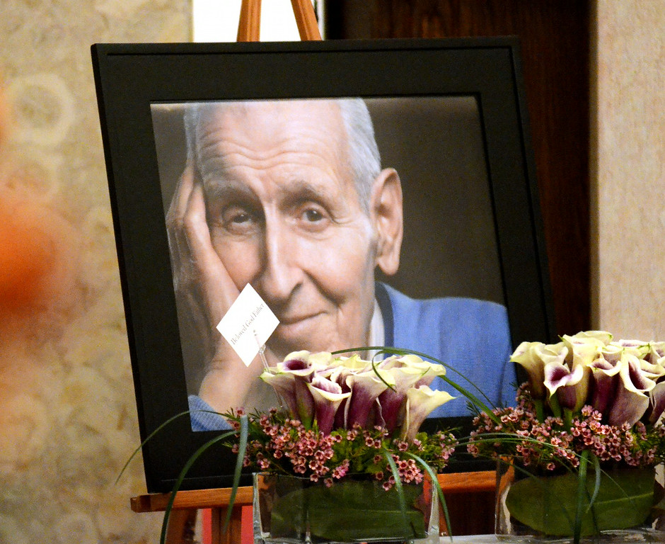 Description of . ***WITH VIDEO***  Photo of Dr. Jack Kevorkian on display during a memorial service for him at the White Chapel Cemetery in Troy.  The Oakland Press/TIM THOMPSON