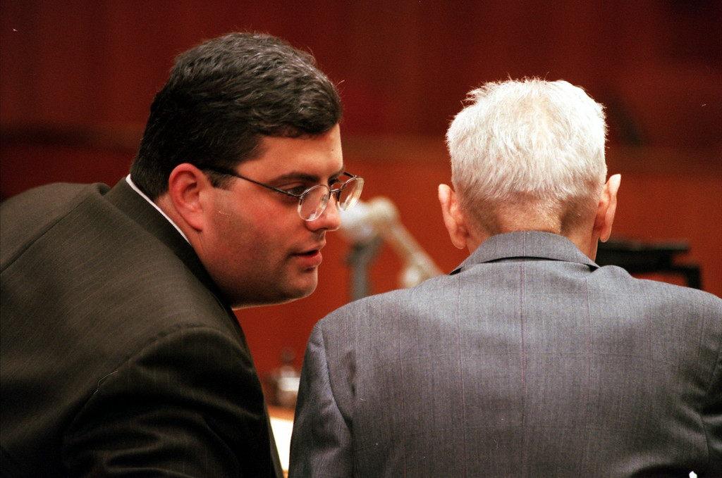 Description of . David Gorosh,left,  defence advisor chats with Doctor Jack Kevorkian during closing statement before Oakland County Circuit Judge Jessica Cooper. Kevorkian is chared with first-degree murder for the lethal injection death of Thomas Youk.