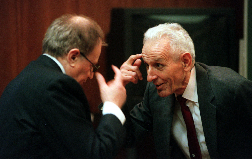 Description of . Doctor Jack Kevorkian, right,  chats with Mayer Morganroth during a short recess of the Kevorkian first-degree murder trail before Oakland County Circuit Judge Jessica Cooper. Kevorkian is chared with first-degree murder for the lethal injection death of Thomas Youk.