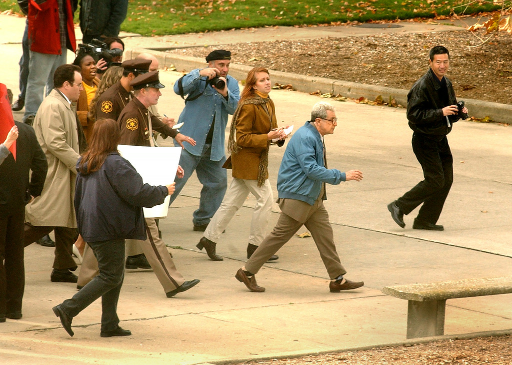 Description of . Actor Al Pacino walks into the Oakland County Circuit Court building in Pontiac.  Pacino is portraying Dr. Jack Kevorkian in the HBO movie,