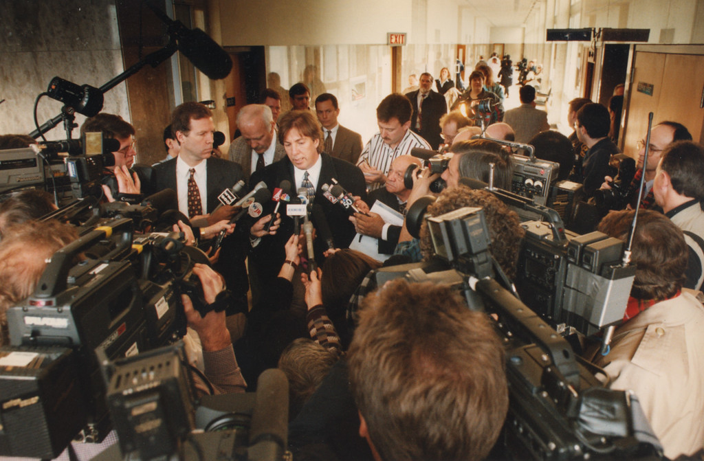 Description of . 2/12/1996- Geoffrey Fieger talks to the swarm of media after a stay in Dr. Kevorkian's trial.