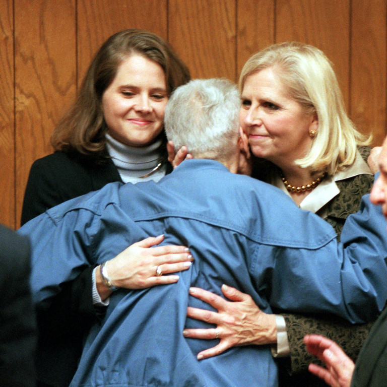 Description of . Dr. Jack Kevorkian Arraignment. Sarah Holmes and mother Ruth Holmes congradulate Dr. Jack Kevorkian for being released on personal bond, after his arraignment in 51st District Court in Waterford.