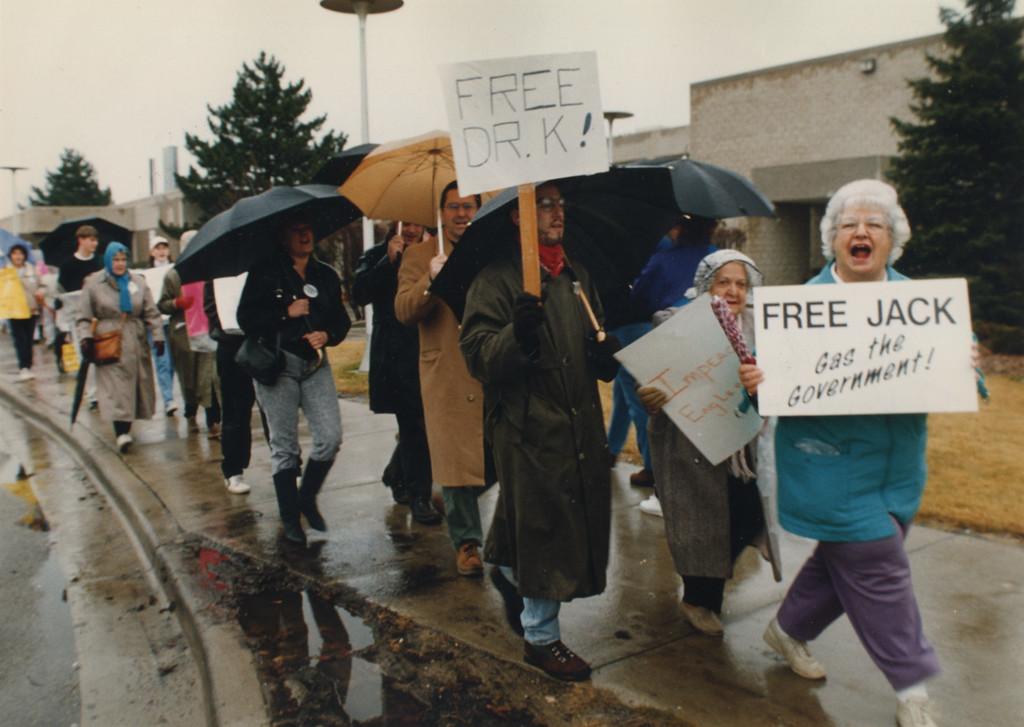 Description of . 12/2/1993- Friends of Dr. Kevorkian demonstrate in front of Oakland County jail.