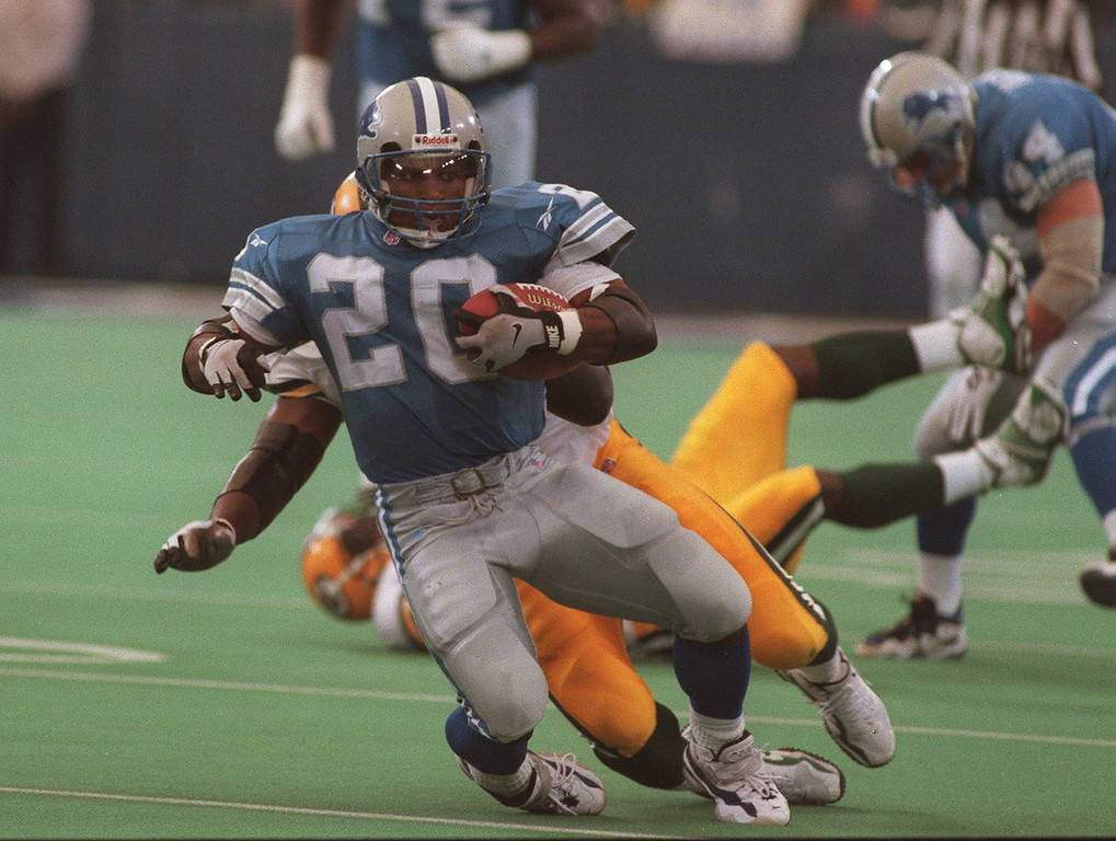 Description of . Detroit Lion Barry Sanders, ran for over 135 yards by the 4th quarter of play verses the Green Bay Packers at the Pontiac Silverdome.