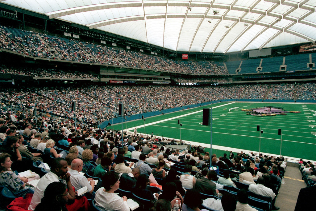 Description of . Jehovah's Witnesses at the Silverdome. About 35,000 in attendence today for their '99 convention.