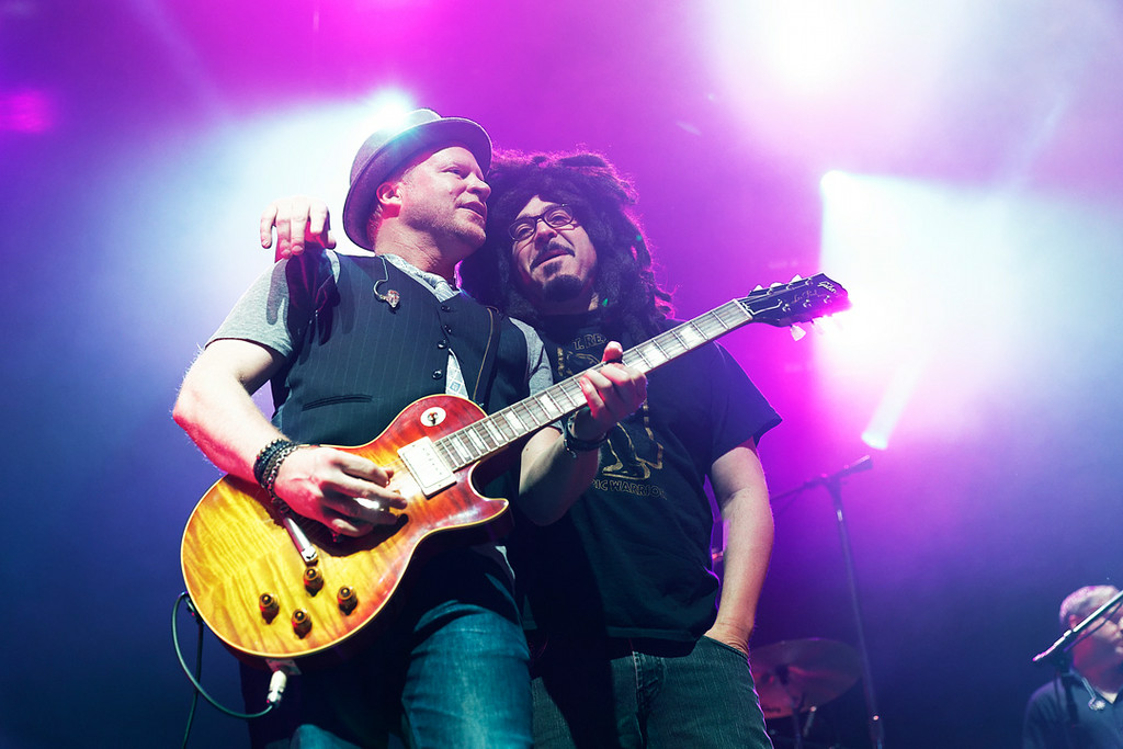 Description of . Guitarist Dan Vickrey and singer Adam Duritz of Counting Crows perform at Sound Board in the MotorCity Casino on Friday, July 18, 2014. Photo by Ken Settle