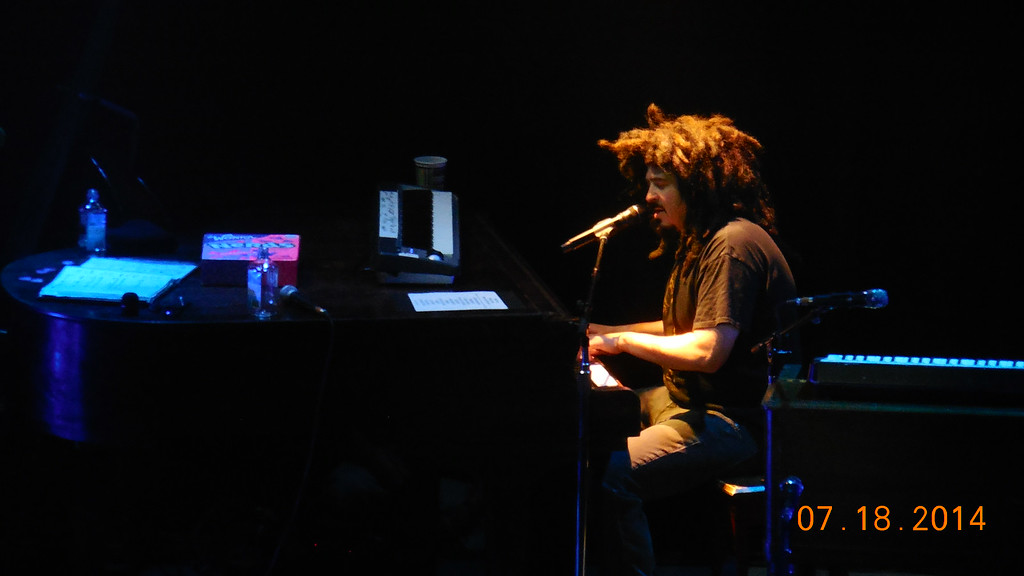 Description of . Adam Duritz of Counting Crows plays piano and sings at Sound Board in the MotorCity Casino on Friday, July 18, 2014. Photo by Blake Gitlin
