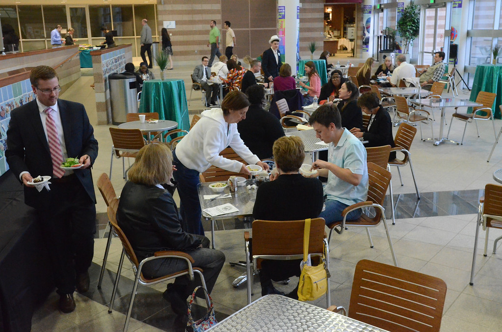 Description of . After the award ceremony, attendees enjoyed a strolling dinner in the Oakland Schools atrium.