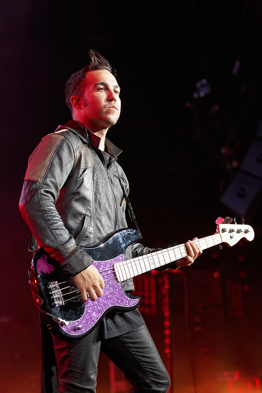 Description of . Fall Out Boy's Pete Wentz at DTE on 7-8-14. Photo by Ken Settle