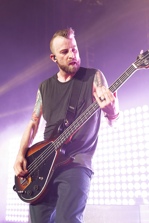 Description of . Jeremy Davis of Paramore at DTE on 7-8-14. Photo by Ken Settle