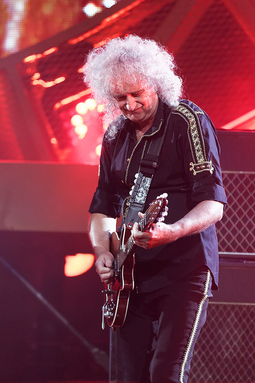 Description of . Brian May performs with Queen + Adam Lambert at The Palace on 7-12-14. Photo by Ken Settle