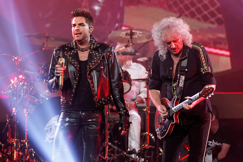 Description of . Adam Lambert and Brian May of Queen at The Palace on 7-12-14. Photo by Ken Settle