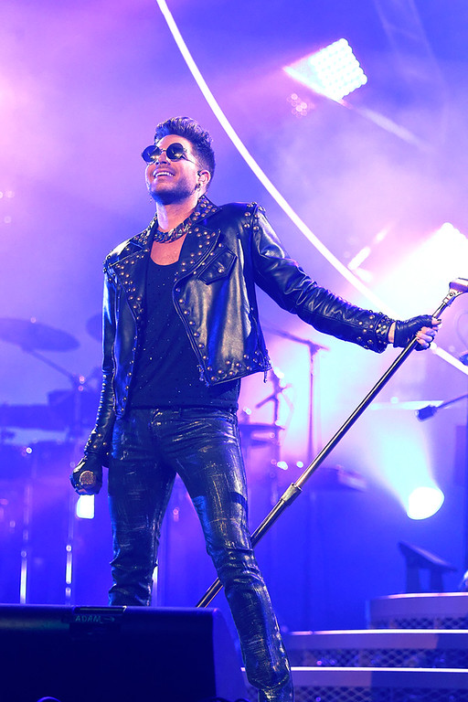 Description of . Adam Lambert performs with Queen at The Palace on 7-12-14. Photo by Ken Settle