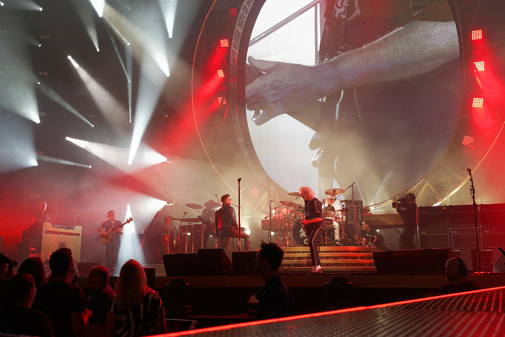 Description of . Queen + Adam Lambert perform at The Palace on 7-12-14. Photo by Ken Settle