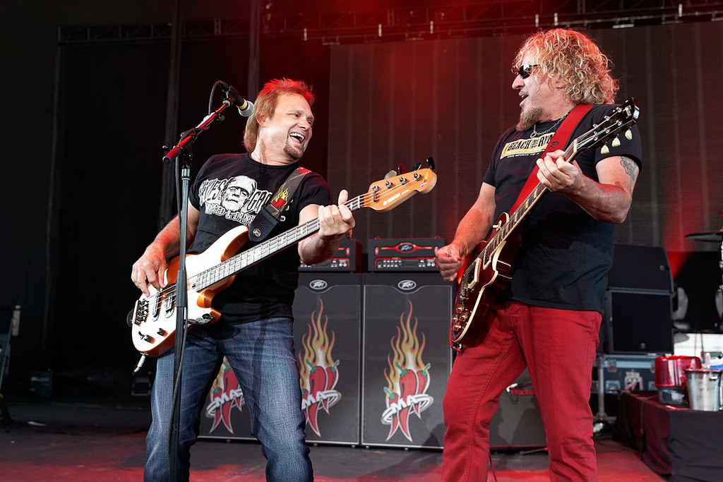 Description of . Michael Anthony with Sammy Hagar at Freedom Hill on 7-23-14. Photo by Ken Settle