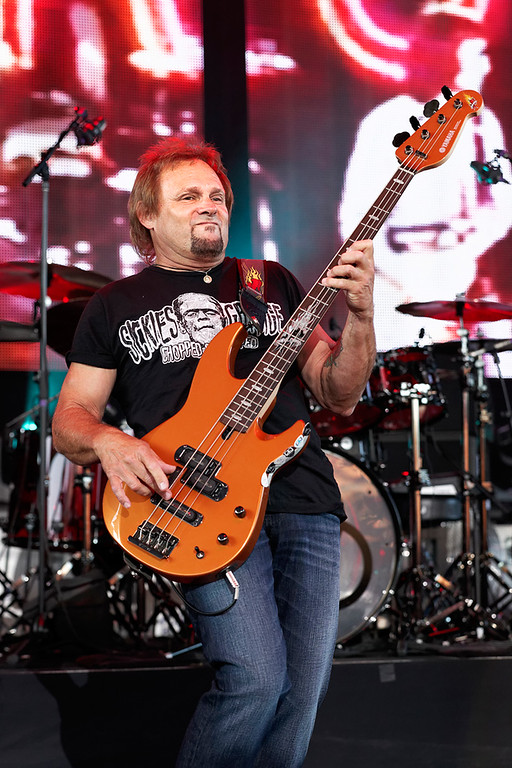 Description of . Michael Anthony with Sammy Hagar's band at Freedom Hill on 7-23-14. Photo by Ken Settle