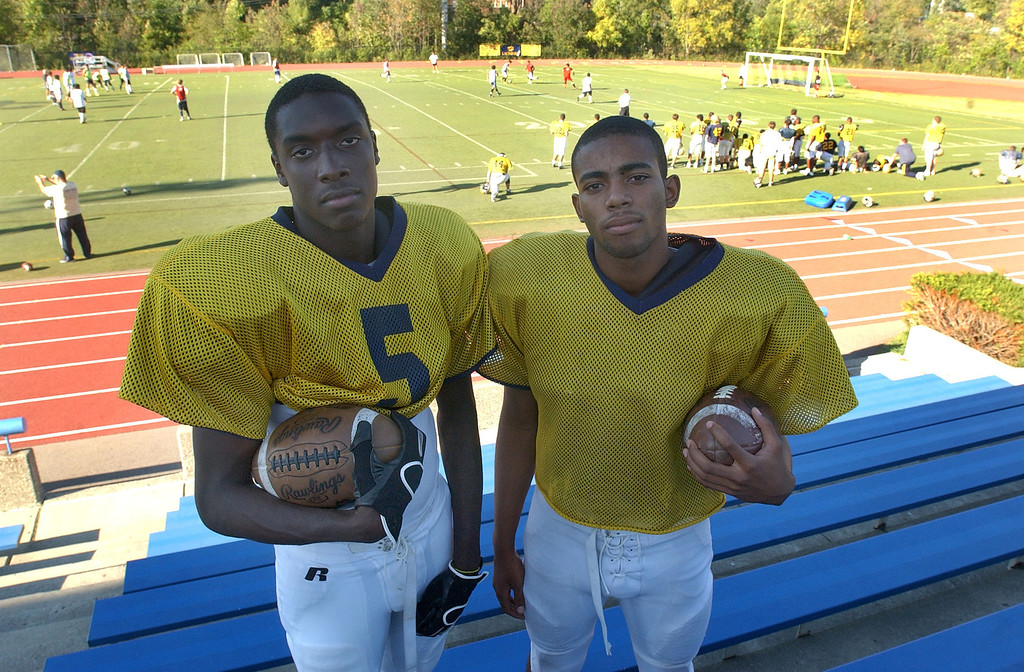 Description of . Birmingham Detroit Country Day High School football players Kenny Knight, left, annd Josh Harris.  Photo taken on Monday, September 13, 2010, at Country Day HS in Beverly Hills, Mich.  (The Oakland Press/Jose Juarez)