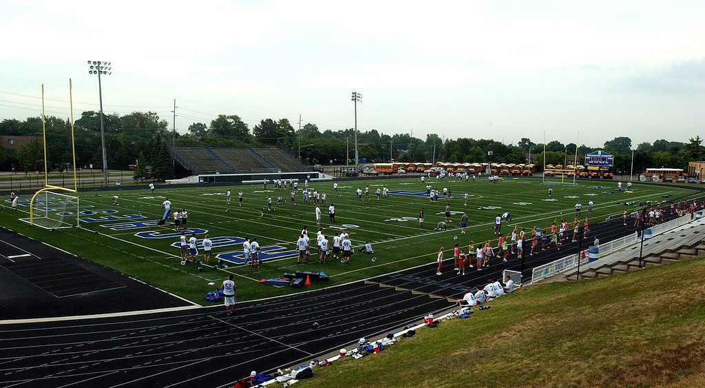Description of . Rochester High School\'s football stadium.