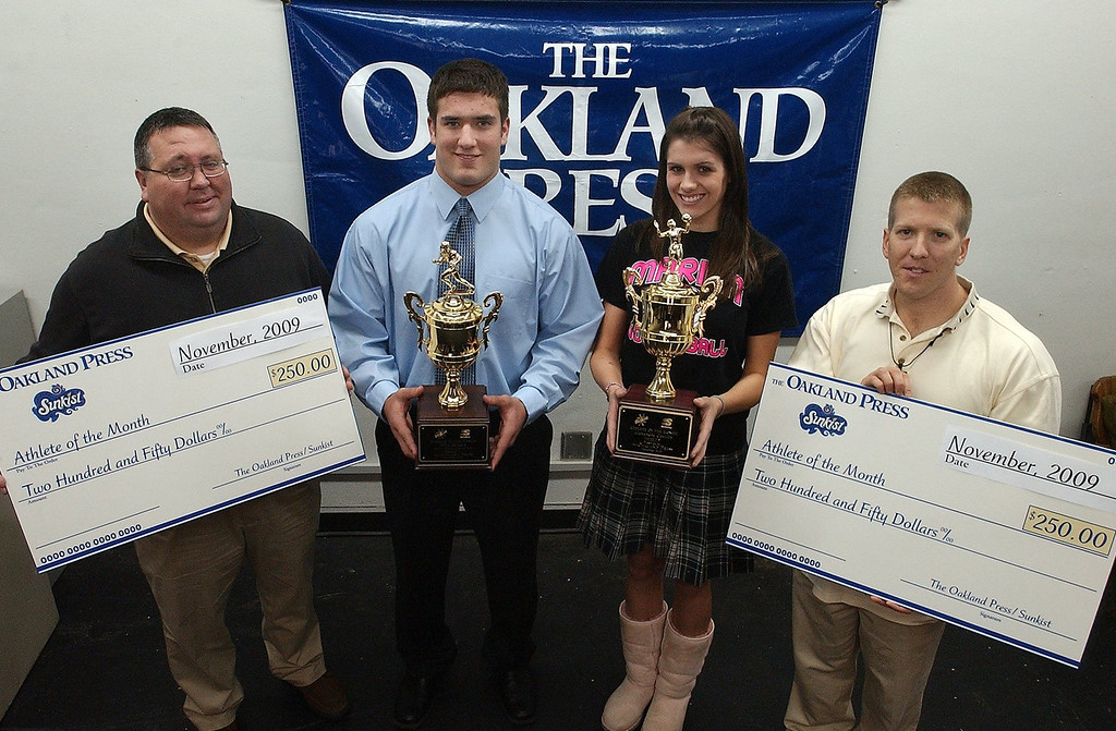 Description of . (from left) Mark Flynn, district manager 7-Up of Detroit, with athletes of the month Niko Palazeti, Novi Detroit Catholic Central High School football, Alexandra Cocklin, Birmingham Marian High School volleyball and Keith Dunlap, Oakland Press sports reporter.
