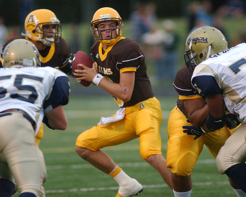 Description of . Rochester Adams High School football quarterback Andrew Waszak drops back to pass against Stoney Creek in the first quarter, Friday, September 5, 2008, in a game played at Adams HS in Rochester Hills, Mich.  (The Oakland Press/Jose Juarez)