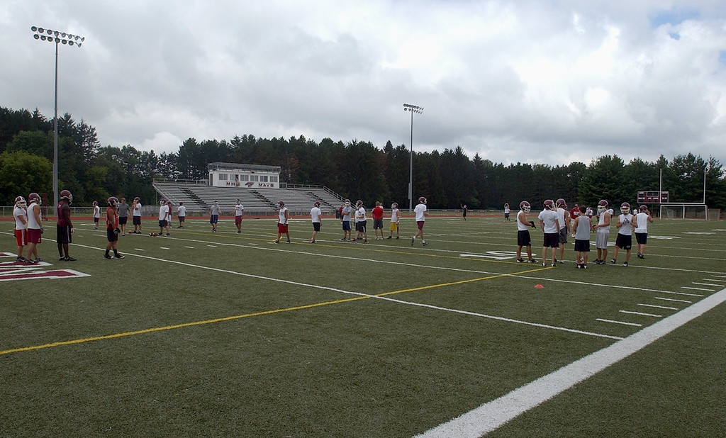 Description of . Milford High School\'s football field.