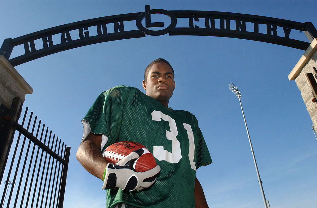 Description of . Lake Orion High School football player-- Marques Stevenson.  Photo taken on Tuesday, October 12, 2010, at Lake Orion HS in Lake Orion, Mich.  (The Oakland Press/Jose Juarez)