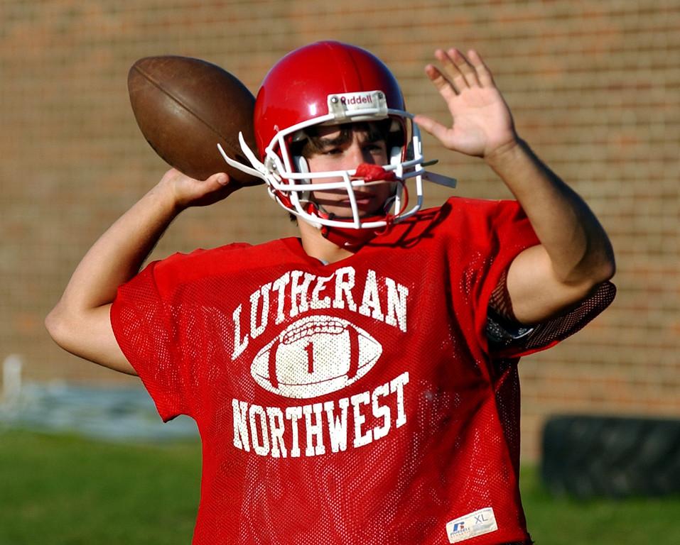 Description of . Rochester Hills Lutheran Northwest High School football quarterback-- Matt Rolf.  Rolf is a senior.  Photo taken on Monday, October 6, 2008, in Rochester Hills, Mich.  (The Oakland Press/Jose Juarez)