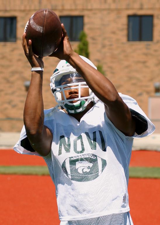 Description of . Novi High School football player-- Brandon Carnegie.  Photo taken on Tuesday, August 15, 2006, at Novi HS in Novi, Mich.  (The Oakland Press/Jose Juarez)