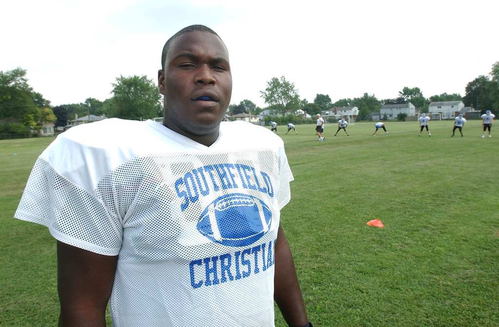 Description of . Southfield Christian High School football player-- Shafer Johnson.  Photo taken on Thursday, August 12, 2010, at Southfield Christian HS in Southfield, Mich.  (The Oakland Press/Jose Juarez)
