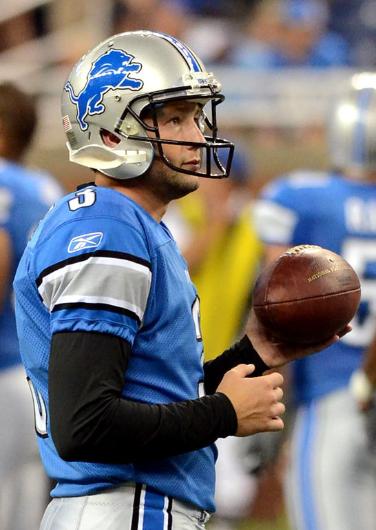 . Detroit Lions kicker Dave Rayner during their preseason game against the Cincinnati Bengals at Ford Field, Friday August 12, 2011. (Oakland Press Photo By: Vaughn Gurganian)