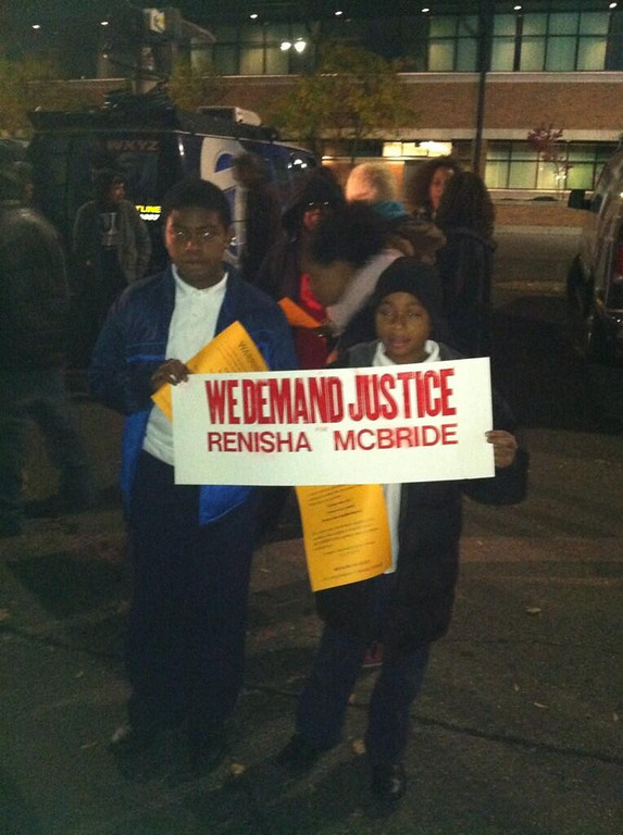 Description of . Dawud Walid's sons rallied for Renisha McBride. He posted this picture on Twitter.