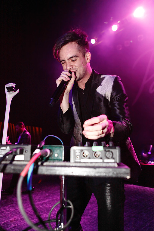 Description of . Brendon Urie of Panic! At The Disco at Fillmore Detroit Thursday night, Dec. 12, 2013. Photo by Ken Settle