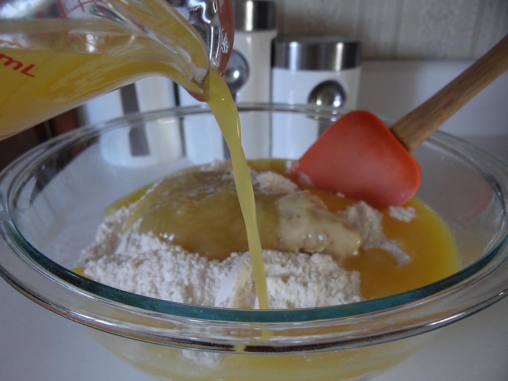 Description of . Begin adding Florida 100 percent orange juice to your mixture.