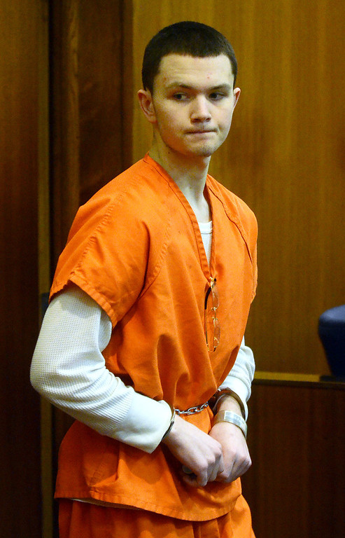 Description of . Mitchell Young enters the courtroom before being sentenced to life with no parole for the beating death of Robert Cipriano, in the courtroom of Oakland County Circuit Court Judge Shalina Kumar,  Wednesday July 24, 2013. (Oakland Press Photo:Vaughn Gurganian)