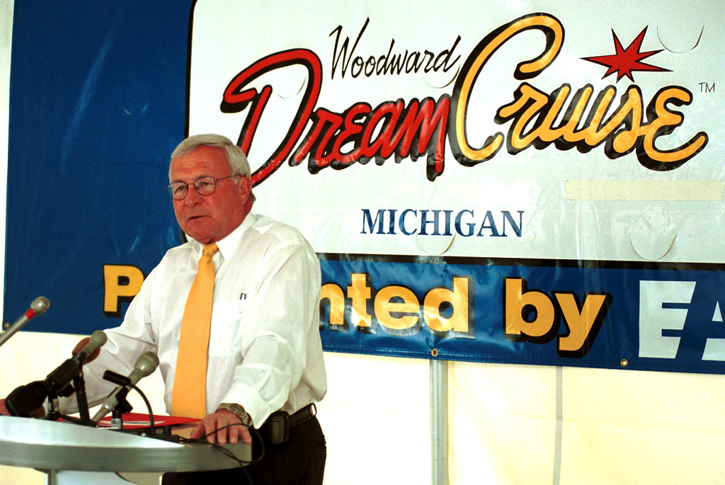 Description of . Oakland County Executive L. Brooks Patterson at the Woodward Dream Cruise press conference at Pioneer Park in Royal Oak.  Kick off of this weekends events.