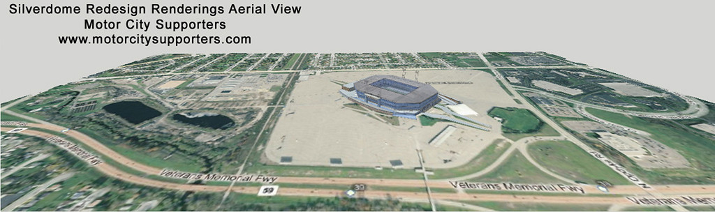 Description of . A website has released what it purports to be leaked renderings of renovations to take place at the Pontiac Silverdome for a major league soccer team.   Motor City Supporters has revealed two drawings of the Silverdome redesigned to support a soccer team. Silverdome officials could not be reached for comment. The website is for the Motor City Supporters Group, which is made up of professional soccer fans with a desire to bring a professional team to Detroit.  The Silverdome officials have confirmed Canadian owner Andreas Apostolopoulos wants to bring a soccer team to the venue.
