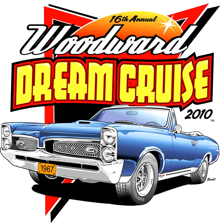 Description of . New logo for 2010 Woodward Dream Cruise is based on a car owned by1967 GTO and is owned by Bob Thompson from Lapeer