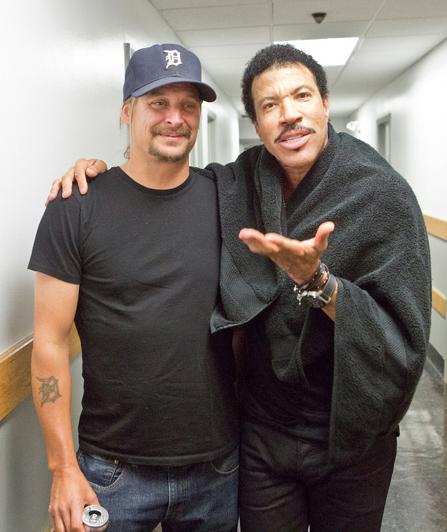 Description of . Kid Rock joins Lionel Richie at DTE Energy Music Theatre in Independence Township on June 20, 2014. Photo courtesy of Lionel Richie
