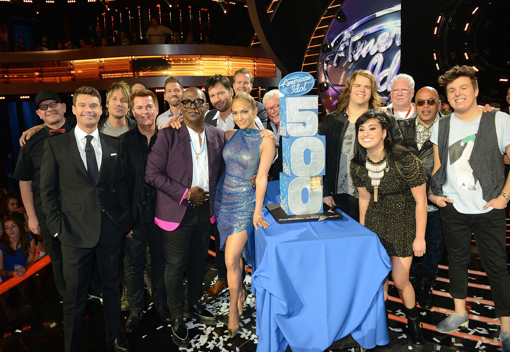Description of . AMERICAN IDOL XIII: FOX and AMERICAN IDOL celebrate the 500'TH AMERICAN IDOL episode airing Wednesday, May 14 (8:00-10:00 PM ET / PT) on FOX.  Pictured: The top three finalists join Ryan Seacrest, Randy Jackson, Jennifer Lopez, Harry Connick, Jr, Keith Urban, Creator and Exec producer Simon Fuller and other producers and executives from Fremantle, FOX and AMERICAN IDOL on stage to celebrate the 500'TH episode od AMERICAN IDOL. CR: Michael Becker / FOX. Copyright 2014 / FOX Broadcasting.