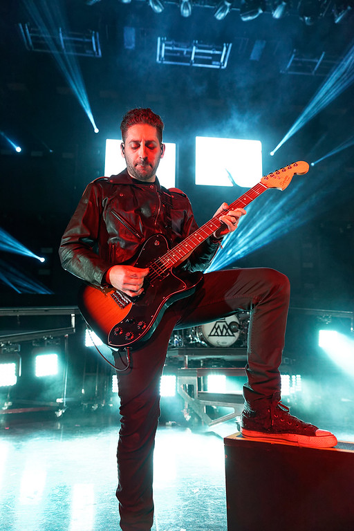 Description of . Fall Out Boy's Joe Trouhman at DTE on 7-8-14. Photo by Ken Settle