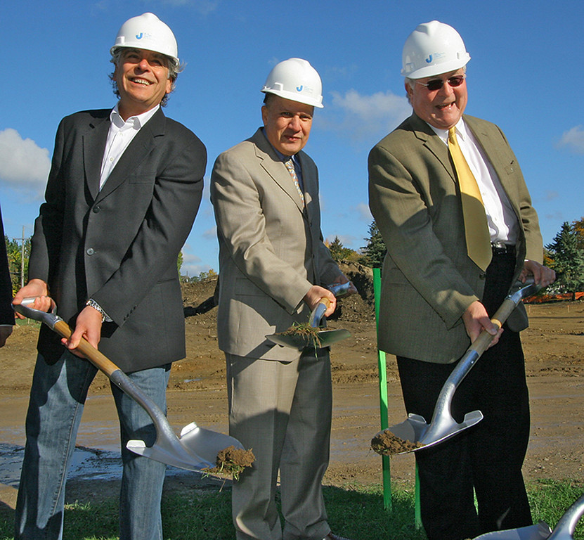 Description of . Planterra groundbreaking.  Man at right is L. Brooks Patterson, Oakland County Executive.
