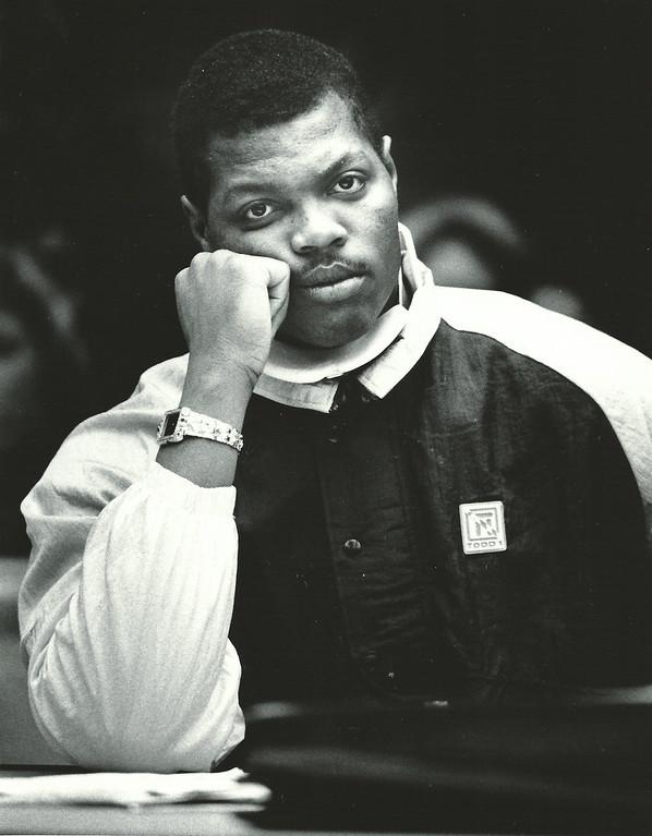 Description of . Former Detroit Lions player Reggie Rogers in court December 1988. The Oakland Press/file photo