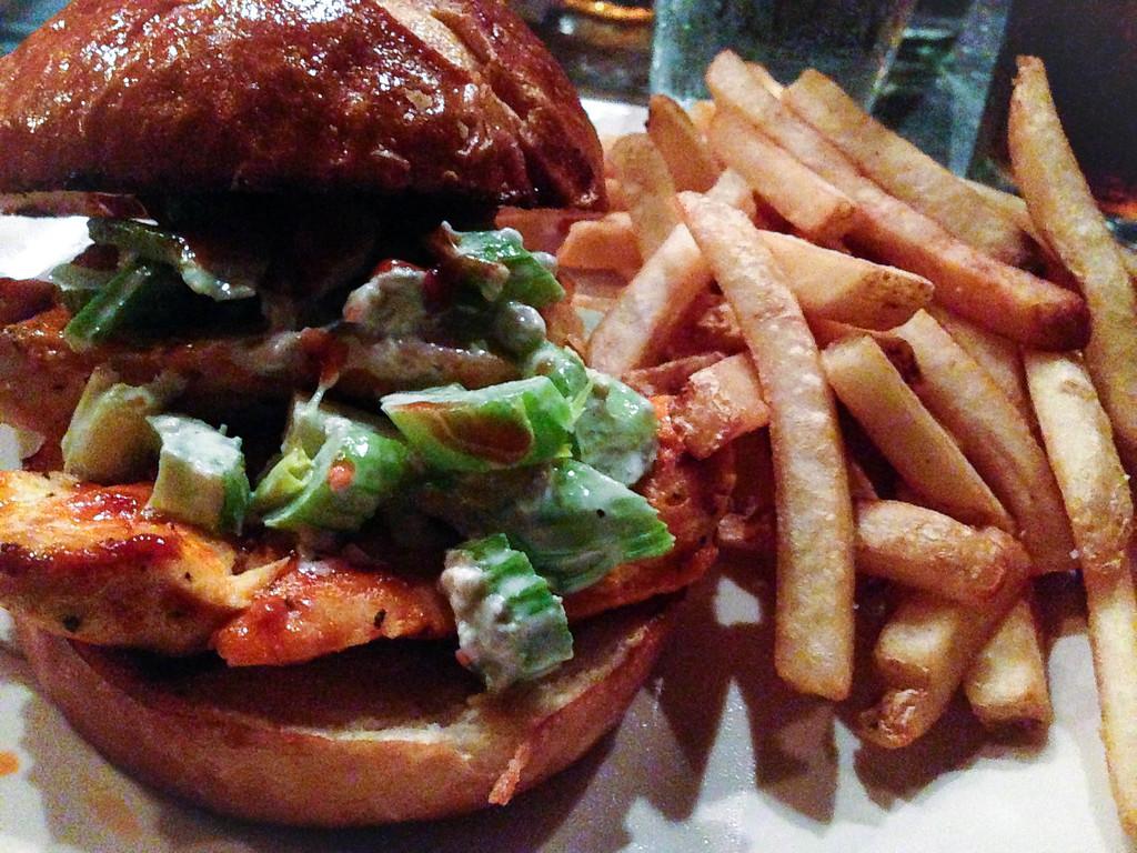 Description of . Buffalo & Blue sandwich at Republica in Berkley. Photo by Lori Yates.