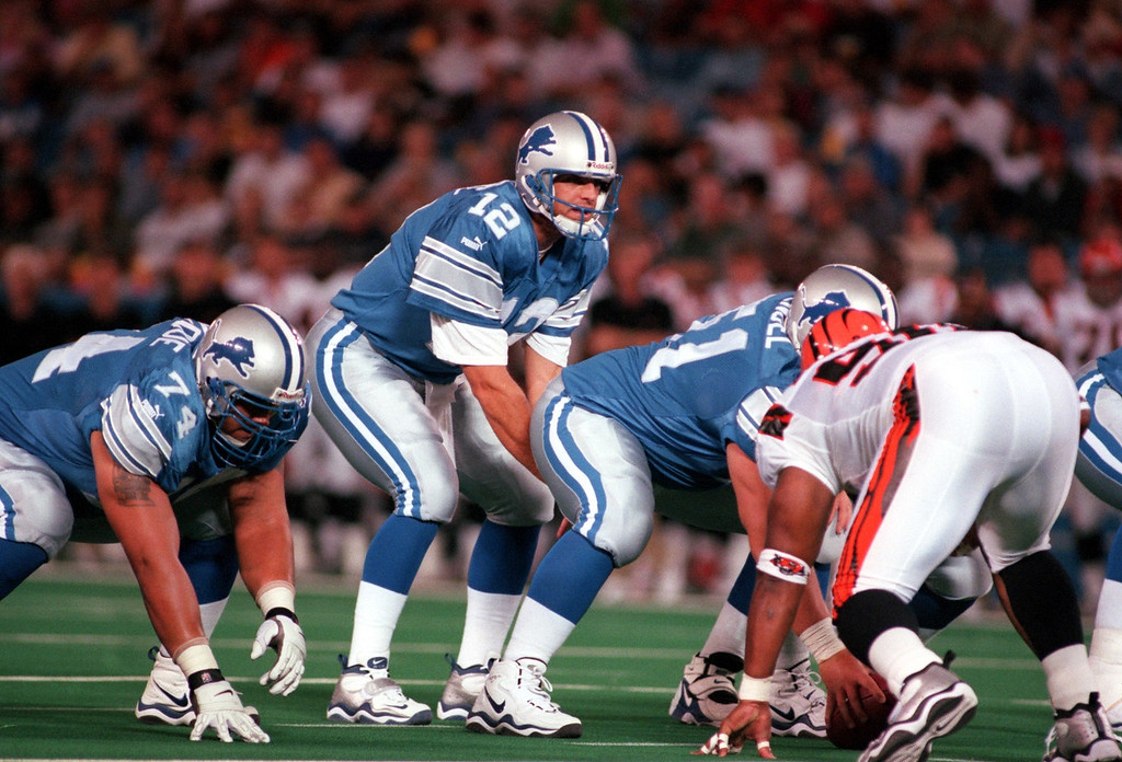 . Detroit Lions backup quarterback Gus Frerotte (12) came into the game at the close of the first half during Friday night\'s preseason home opener against the Cincinnati Bengals.