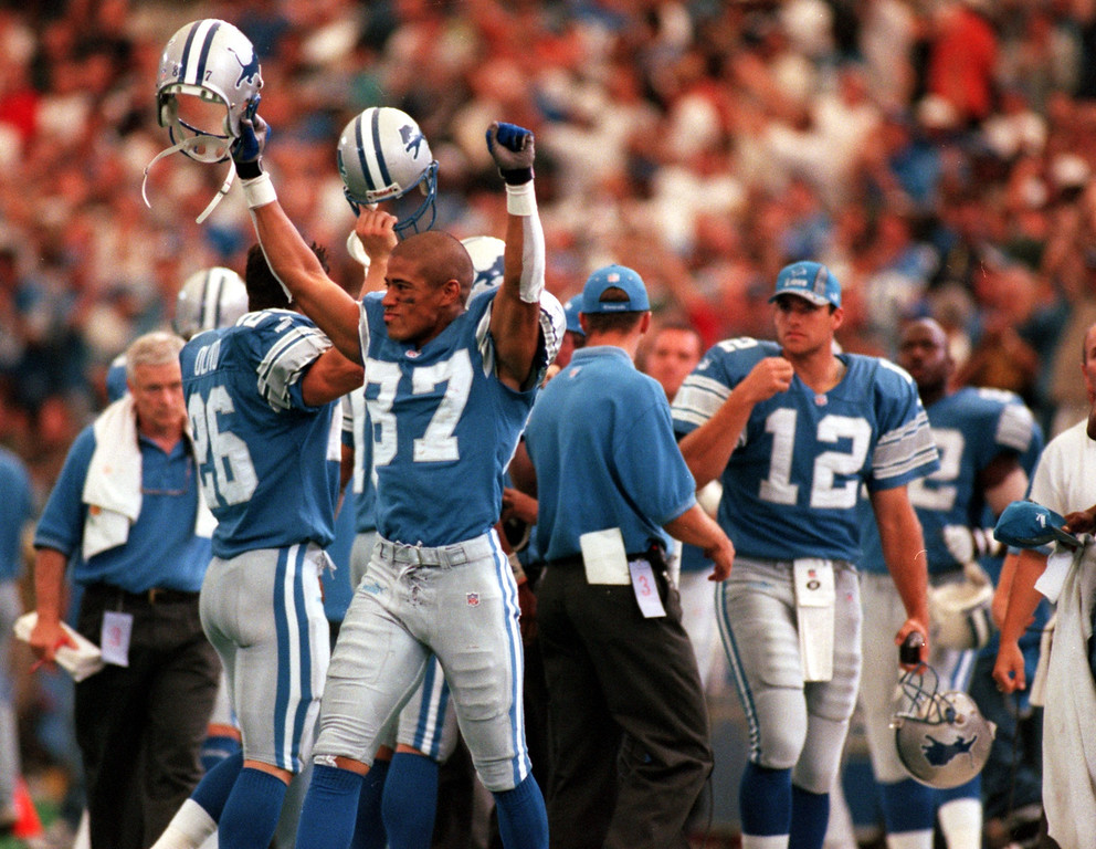 . Johnnie Morton (87) of the Detroit Lions celebrates twords the end of the game during Sundays game against the Green Bay Packers at the Pontiac Silverdome Lions won 23-15 over Green Bay.