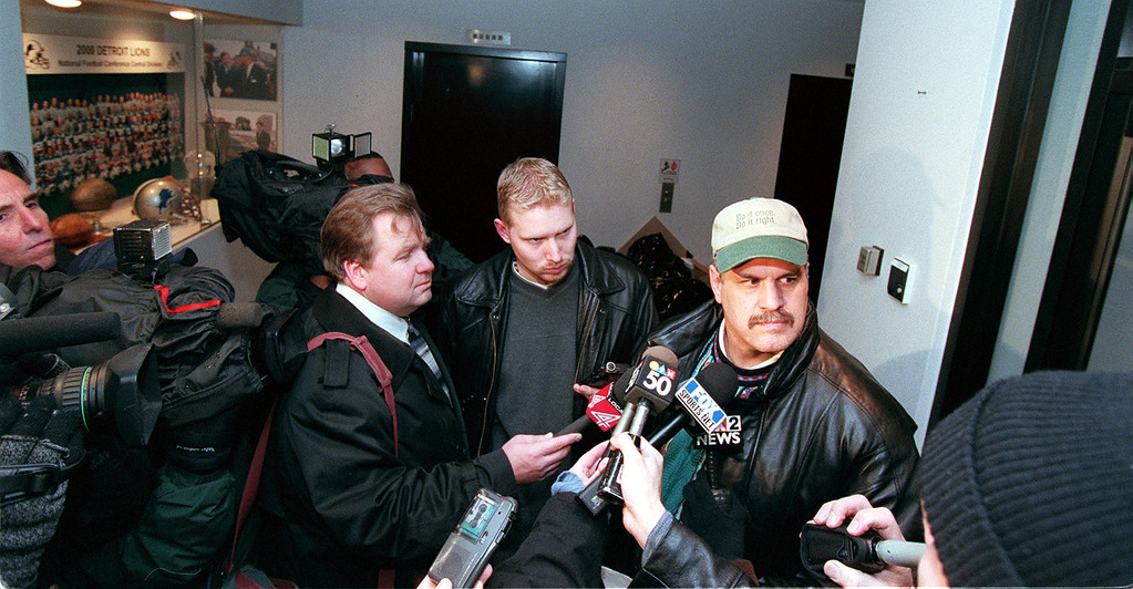 . Detroit Lions President and CEO, Matt Millen stops to talk to the news media just outside the Detroit Lions Administrative offices early this evening about the hiring of Marty Mornhinweg as the new Detroit Lions head coach and the release (firing?) of coach Gary Moeler.