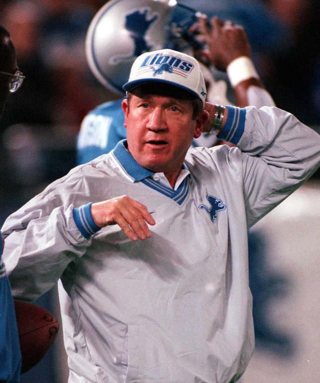 . Detroit Lions head coach Bobby Ross before the game against the Atlanta Falcons.  Coach Ross suffered his first lossing season of his NFL career. The Falcons beat the Lions 24-17 at the Pontiac Silverdome.