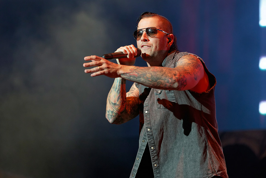 Description of . Avenged Sevenfold's M. Shadows performs at Mayhem Festival on Thursday, July 18, 2014, at DTE Energy Theatre, Independence Township. Photo by Ken Settle