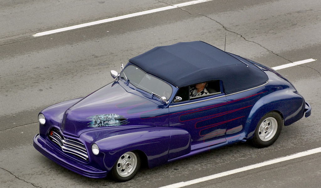. This driver had yet to drop his top after the rain passed Saturday morning during the Woodward Dream Cruise.