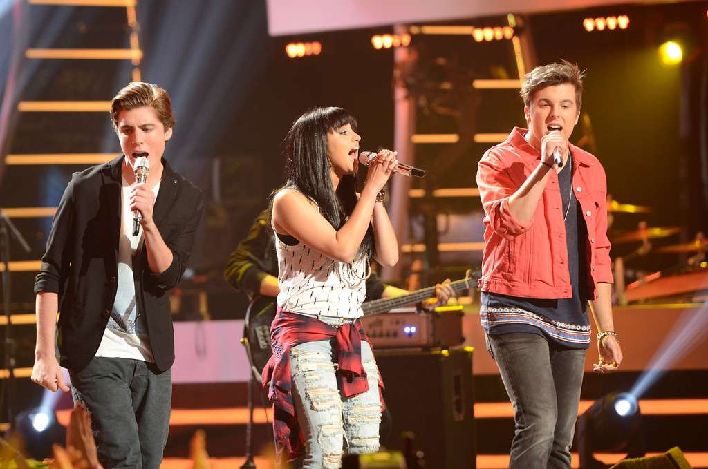 Description of . AMERICAN IDOL XIII: Alex Preston, Jena Irene and Sam Woolf perform on AMERICAN IDOL XIII airing Wednesday, April 30 (8:00-10:00 PM ET / PT) on FOX.  CR: Michael Becker / FOX. Copyright 2014 / FOX Broadcasting.